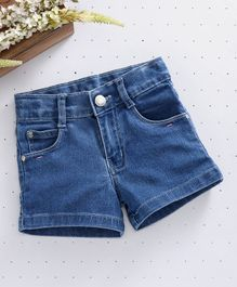 Babyhug Denim Shorts With Adjustable Elastic Waist - Light Blue