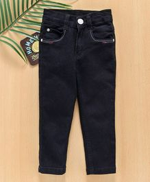 Babyhug Full Length Jeans With Adjustable Elastic - Black