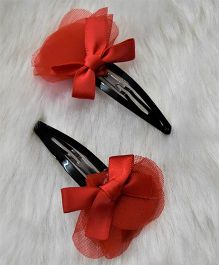 Magic Needles Bow Dress Tic Tac Hair Clips - Red
