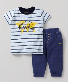 Tiny Bee Striped T-Shirt With Biker Pant - White & Blue