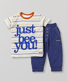 Tiny Bee T-Shirt With Biker Pant - Yellow & Blue