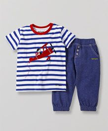 Tiny Bee Aeroplane Print T-Shirt With Biker Pants - Blue & Red