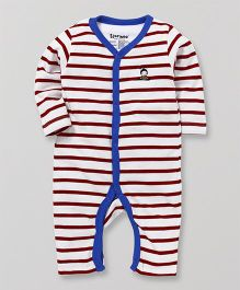 Tiny Bee Striped Full Sleeves Romper - Red & Blue