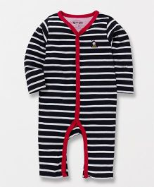 Tiny Bee Full Sleeves Striped Romper - Black & Red