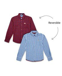 Flying Machine Full Sleeve Gingham Checks Shirt - Red