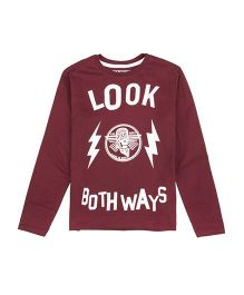 Flying Machine Full Sleeves T-Shirt Text Print - Maroon