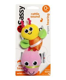 Sassy Wrist Rattle Bee - Pink And Yellow