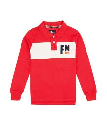 Flying Machine Full Sleeve Collar Neck T-Shirt - Red