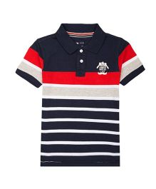 Flying Machine Half Sleeves Striped T-Shirt - Navy Blue