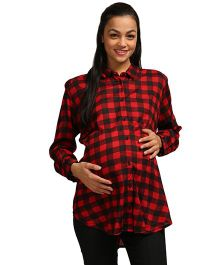 Wobbly Walk Full Sleeves Maternity Shirt Checks Pattern - Red