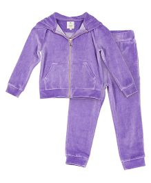 Cherry Crumble California Soft Velour Zipper Top N Bottom Set - Purple