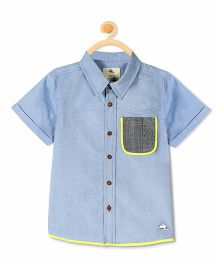 Cherry Crumble California Short Sleeve Premium Cotton Shirt - Blue