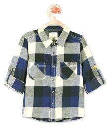 Cherry Crumble California European Checks Cotton Shirt - Blue
