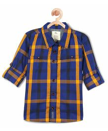 Cherry Crumble California Classic Contrast Check Cotton Shirt - Blue