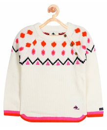 Cherry Crumble California Fair Island Patterned Sweater - Off White