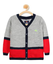 Cherry Crumble California Sporty Sweater Cardigan - Grey & Red