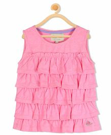 Cherry Crumble California Ruffle Knitted Vest Top - Pink
