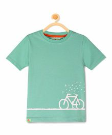 Cherry Crumble California Crew Neck Cycle Graphic T-Shirt - Green