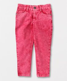 Button Noses Adjustable Elastic Waist Jeans - Pink