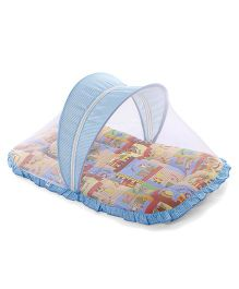 Mee Mee Mattress With Pillow And Mosquito Net Train Print - Blue