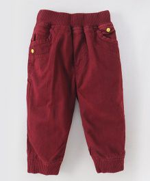 Olio Kids Full Length Trousers With Ribbed Waist & Pockets - Maroon