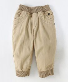 Olio Kids Full Length Trousers With Ribbed Waist & Pockets - Beige