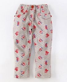 Olio Kids Full Length Trouser Floral Print - Grey