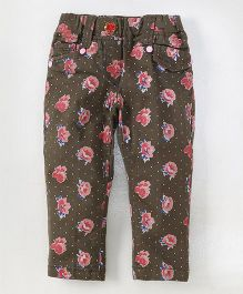 Olio Kids Full Length Trouser Floral Print - Brown