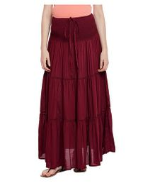 Oxolloxo Solid Color Maternity Skirt - Maroon