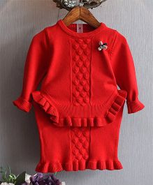 Full Sleeves Top With Skirt - Red