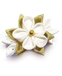 Reyas Accessories Kanzashi Flower Hair Clip - White & Golden