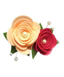 Reyas Accessories Pearl & Rose Hair Clip - Peach & Pink