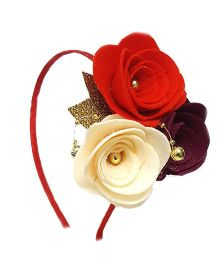 Reyas Accessories Rose Trio Applique Hairband - Red & And Cream