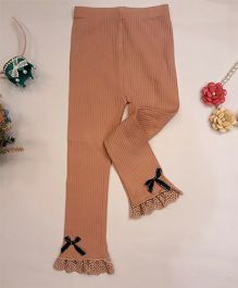 Aww Hunnie Bow Applique Leggings - Brown
