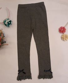 Aww Hunnie Bow Applique Leggings - Grey