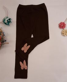 Aww Hunnie Rabbit Applique Leggings - Brown