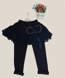Aww Hunnie Bow Applique Tutu Skirt Attached Leggings - Navy Blue