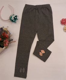 Aww Hunnie Small Bow Applique Leggings - Grey