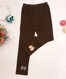 Aww Hunnie Small Bow Applique Leggings - Brown
