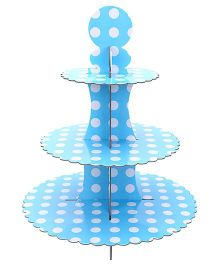 ShopAParty 3 Tier Cupcake Stand With Dots - Blue