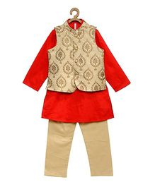 Campana Full Sleeves Kurta Pajama & Jacket - Golden & Orange