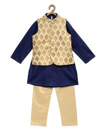 Campana Full Sleeves Kurta Pajama & Jacket - Golden & Navy