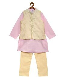 Campana Full Sleeves Kurta Pajama & Jacket - Golden & Pink