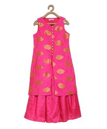 Campana Sleeveless Ethnic Long Top & Lehenga - Pink & Golden