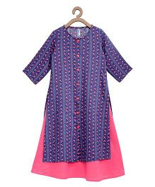 Campana Full Sleeves Kurti With Inner Floral Print - Navy & Pink