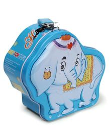 Elephant Shaped Money Bank With Lock And Key - Blue