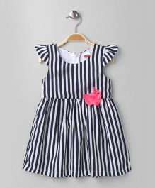 Babyhug Cap Sleeves Frock Flower Applique - Navy Blue White