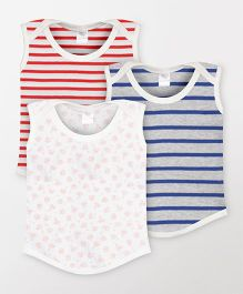Color Fly Sleeveless T-Shirt Stripes & Floral Print Pack Of 3 - Blue Red White