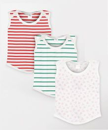Color Fly Sleeveless T-Shirt Stripes & Floral Print Pack Of 3 - Green Red White