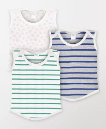 Color Fly Sleeveless T-Shirt Stripes & Floral Print Pack Of 3 - Green Blue White